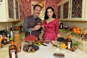 Kyle Ford, Cointreau's Cocktail and Spirits Expert, and Dita Von Teese attend A Live Virtual Holiday Soiree