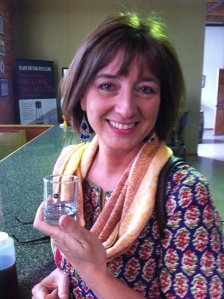 Kimberly Frodelius enjoying a taste of Black Button's Citrus Gin.