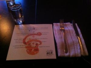 The evening's menu