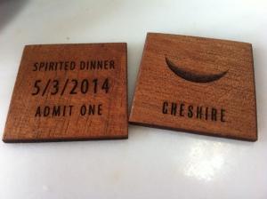 Spirited Dinner tokens for Cheshire