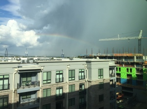 Greeted by a rainbow from my hotel room at the Hyatt Place on King St.